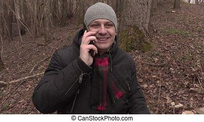 téléphone, homme, parc, birdhouse, conversation
