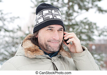téléphone, homme, parc, conversation