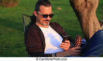 téléphone, homme, parc, intelligent, utilisation