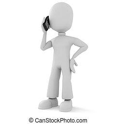 téléphone, homme parler, 3d