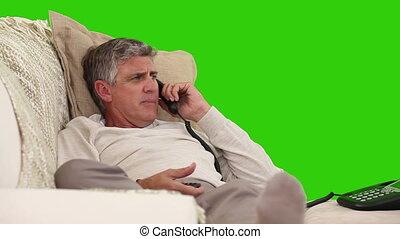 téléphone, homme, retiré, désinvolte, conversation