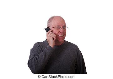 téléphone, homme souriant, chauve, plus vieux