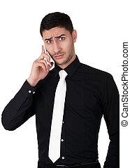 téléphone, homme, surpris