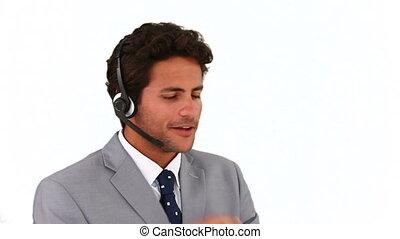 téléphone, homme, téléopérateur, conversation