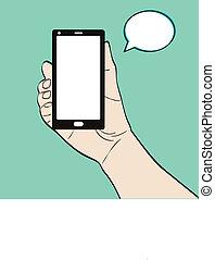 téléphone, homme, tenue, illustration