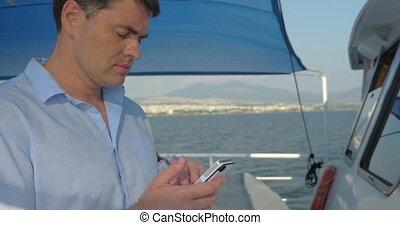 téléphone, homme, yacht, intelligent, utilisation
