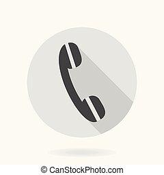 téléphone, icône, amende, récepteur, vecteur, plat
