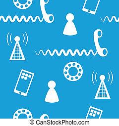 téléphone, icônes, 3, seamless