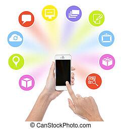 téléphone, icônes, main, cellule, application, tenue