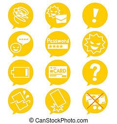 téléphone, icônes, mobile, négatif