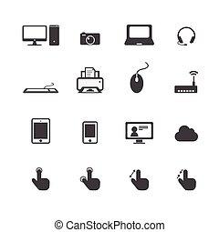 téléphone, icônes ordinateur