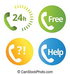 téléphone, icônes, services