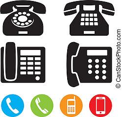téléphone, icônes, vecteur