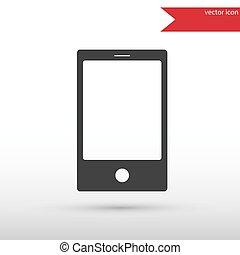 téléphone, icon., intelligent