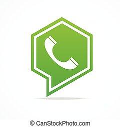 téléphone, icon., vecteur, vert