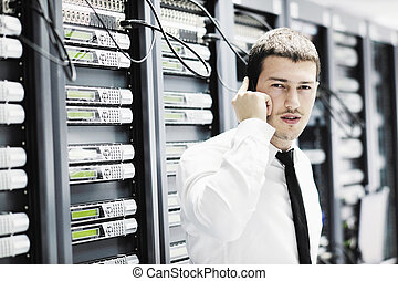 téléphone, il, salle, réseau, ingénieur, conversation