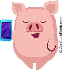 téléphone, illustration, mobile, arrière-plan., vecteur, porcin, tenue, blanc