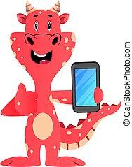 téléphone, illustration, mobile, dragon, arrière-plan., vecteur, tenue, blanc rouge