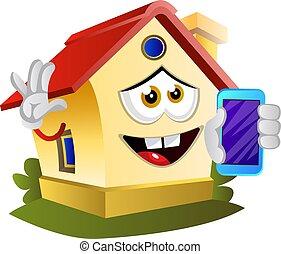 téléphone, illustration, mobile, maison, arrière-plan., vecteur, tenue, blanc