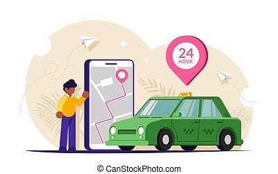 téléphone, illustration., mobile, screen., gens, carte, vecteur, app., appeler, taxi, grande ville, via, vert, voiture., plat, moderne
