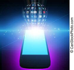 téléphone, image, sphère, vidéo, ou, intelligent