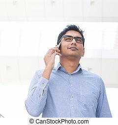 téléphone, indien, homme