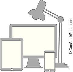 téléphone, informatique, bureau, tablette, intelligent