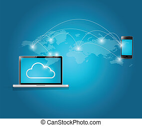 téléphone, informatique, nuage, intelligent, calculer