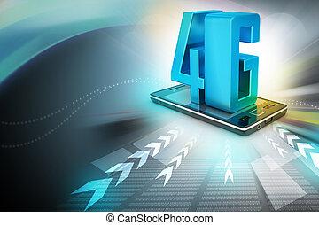 téléphone, intelligent, 4g
