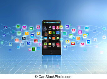 téléphone, intelligent, application