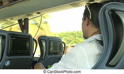 téléphone, intelligent, autobus, homme, utilisation