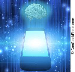 téléphone, intelligent, cerveau