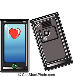 téléphone, intelligent, coeur