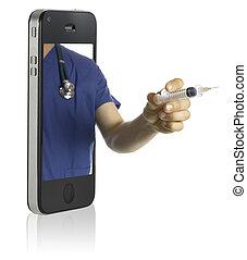 téléphone, intelligent, docteur