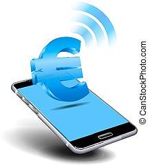 téléphone, intelligent, espèces, payer, cellule, mobile