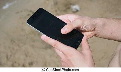 téléphone, intelligent, fond, mer, utilisation