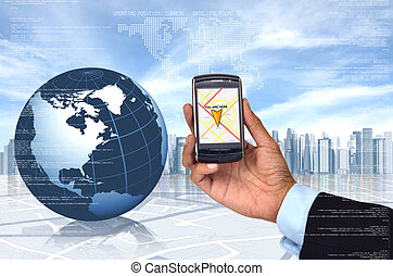 téléphone, intelligent, gps