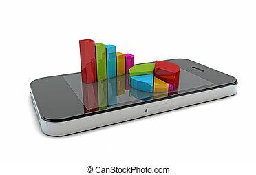 téléphone, intelligent, graphiques