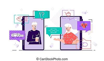 téléphone, intelligent, homme, communication, femme, couple, utilisation