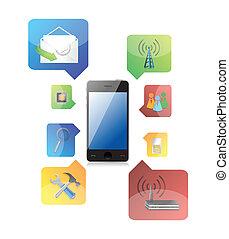 téléphone, intelligent, icônes