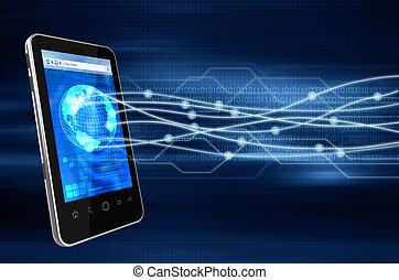 téléphone, intelligent, internet