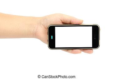 téléphone, intelligent, main