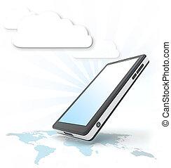 téléphone, intelligent, nuage, communication