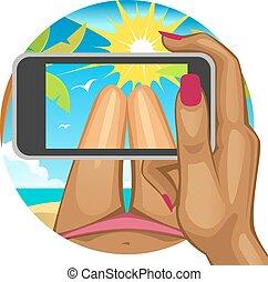 téléphone., intelligent, prend, beach.woman's, selfie, femme, main