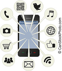 téléphone, intelligent, social