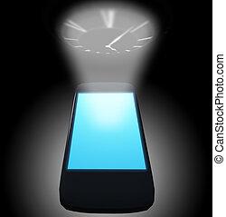 téléphone, intelligent, temps