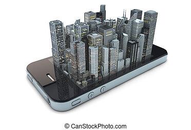 téléphone, intelligent, ville