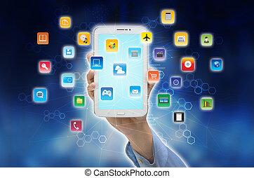 téléphone, internet, intelligent, application