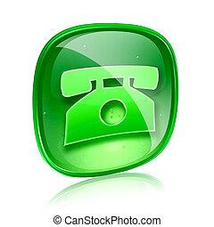téléphone, isolé, arrière-plan., vert, verre, blanc, icône