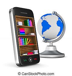 téléphone, isolé, illustration, arrière-plan., blanc, 3d